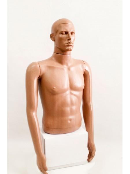 """Манекен мужской витринный укороченный торс без бедер """"Сенсей"""" с лицом, телесного цвета."""