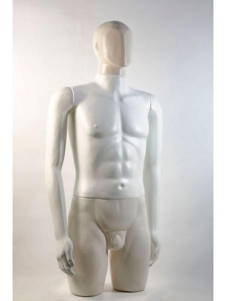 """Манекен мужской витринный укороченный """"Сенсей"""" безликий, белого цвета."""