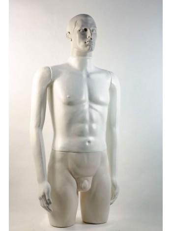 """Манекен мужской витринный укороченный """"Сенсей"""" с лицом, белого цвета."""