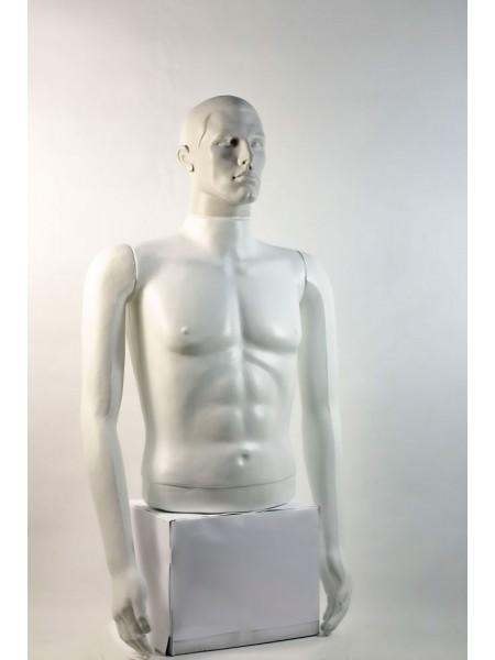 """Манекен мужской витринный укороченный торс без бедер """"Сенсей"""" с лицом, белого цвета."""
