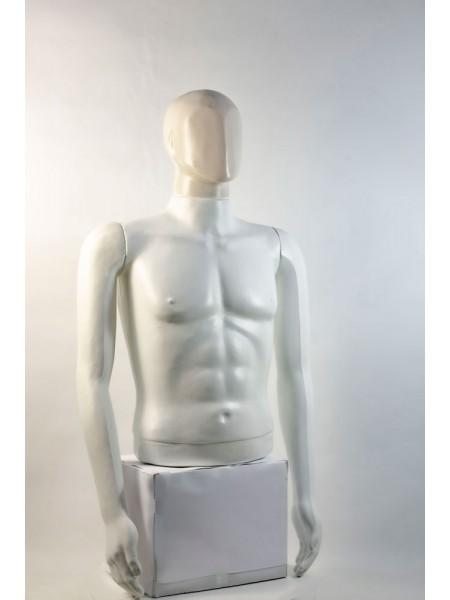 """Манекен мужской витринный укороченный торс без бедер """"Сенсей"""" безликий, белого цвета."""