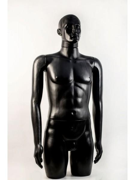 """Манекен мужской витринный укороченный """"Сенсей"""" с лицом, черного цвета."""