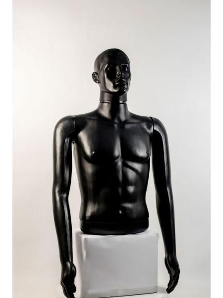"""Манекен мужской витринный укороченный торс без бедер """"Сенсей"""" с лицом, черного цвета."""