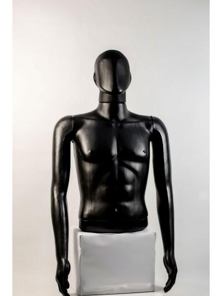 """Манекен мужской витринный укороченный торс без бедер """"Сенсей"""" безликий, черного цвета."""