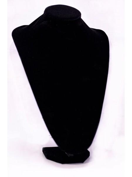 Бюст большой для украшений черный бархатный
