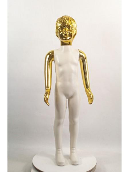 Манекен детский пластиковый девочка в полный рост белый с блестящими руками и головой (золото) 100 см