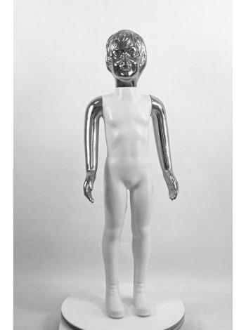 Манекен детский пластиковый девочка в полный рост белый с зеркальными руками и головой (платина) 100 см