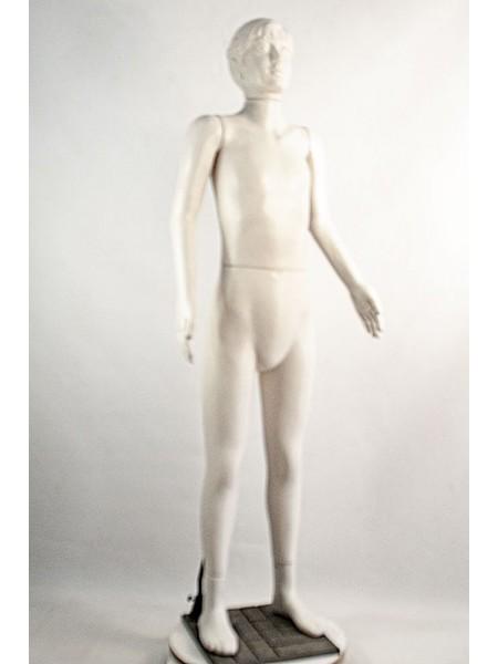 Манекен пластиковый в полный рост белый девочка-подросток на подставке
