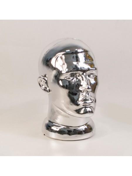 Манекен мужской головы ВГ металлизированный (платина)