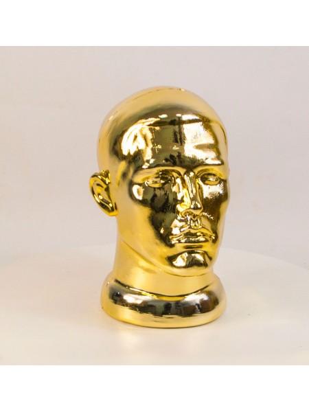 Манекен мужской головы ВГ металлизированный (золото)