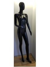 Манекен женский черный глянцевый безликий с согнутой рукой