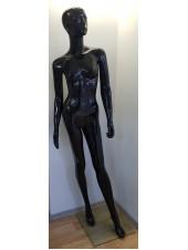 Манекен женский гипсовый в полный рост лакированый черный с лицом  Q-062-4