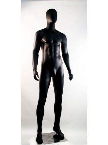 Манекен мужской гипсовый матовый черный безликий  M-02