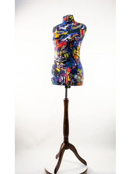 Манекен Любовь 46 дизайнерский в чехле с абстракцией на  деревянной треноге