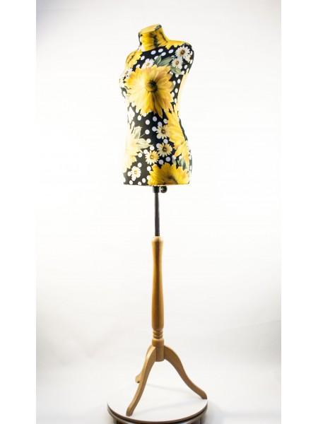 Манекен Любовь 44 дизайнерский с подсолнухами на  деревянной треноге