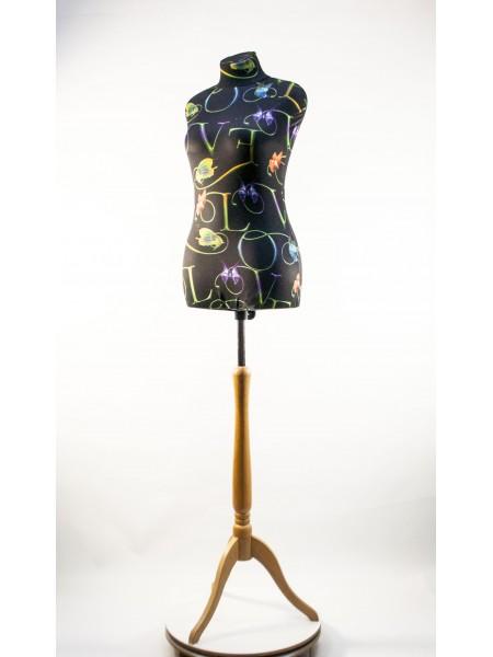 Манекен Любовь 44 дизайнерский с абстракцией flower на  деревянной треноге