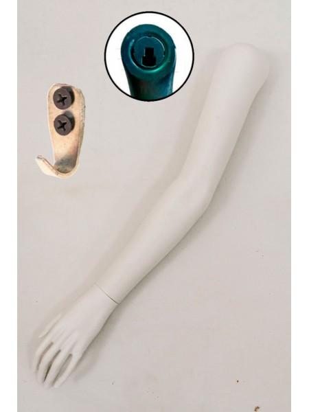 Манекен рука левая женская до плеча белая  с креплением на стену