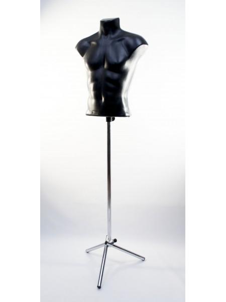 Манекен мужской пластиковый черный Стас на треноге