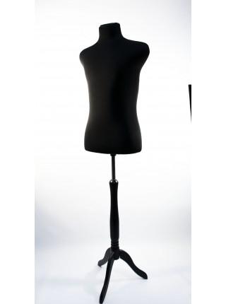 Манекен мужской для шитья в черной ткани Пьер 48 размер на черной деревянной треноге
