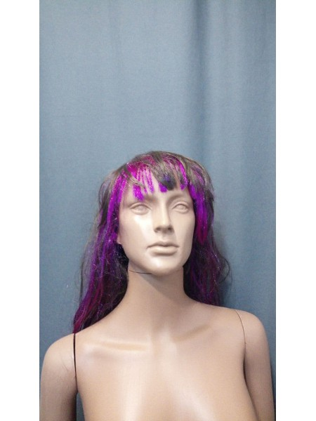 Парик для манекена (Шатен+пурпурные пряди)