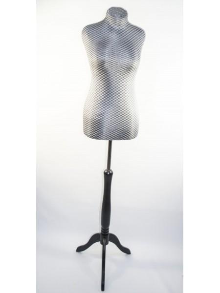 Манекен портной дизайнерский мягкий в серебристой ткани в ромбик Любовь