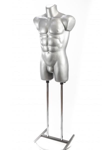 Манекен мужской костюмный пластиковый Давид серебристый на подставке