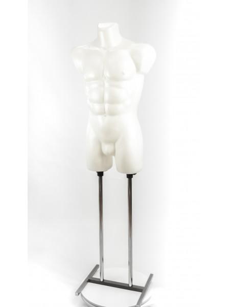 Манекен мужской костюмный пластиковый Давид белый перламутровый на подставке