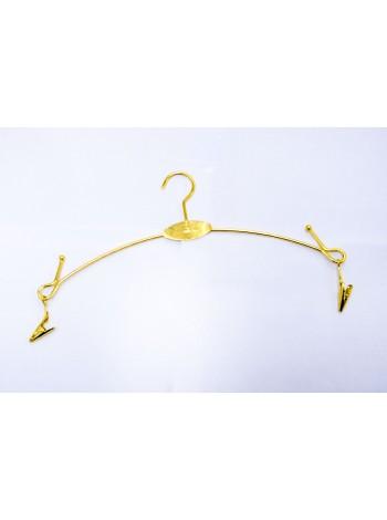 Вешалка юбочная металлическая с прищепками на шарнирах золотистая (28см)