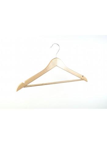 Плечики костюмные деревянные с перекладиной для брюк (светлое лакированное дерево) 44 см