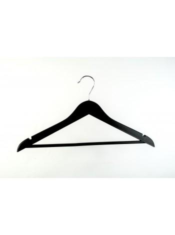Плечики костюмные деревянные с перекладиной для брюк (черная краска) 44 см