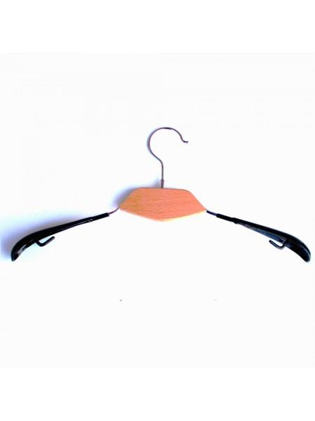 Плечики модельные металлические с деревянной вставкой и силиконовыми плечами белые толстые 40 см