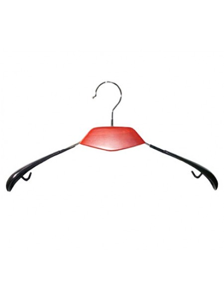 Плечики модельные металлические с деревянной вставкой и силиконовыми плечами  красные толстые 40 см