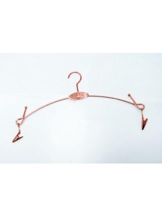 Вешалка бельевая металлическая с прищепками на шарнирах розовая (28см)