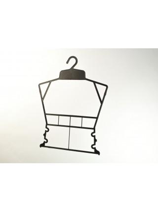 Вешалка рамка домик пластиковая для детских комплектов черная Z 30 см.