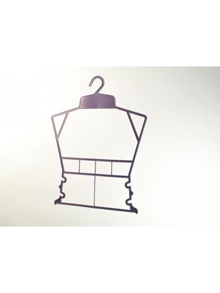 Вешалка рамка домик пластмассовая для детских комплектов фиолетовая 30см.