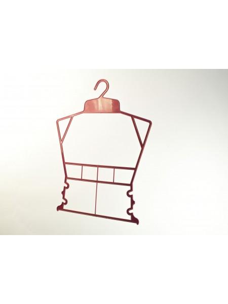Вешалка рамка домик пластиковая для детской одежды  красная 30 см.