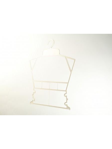 Вешалка рамка домик пластмассовая для детских вещей белая 30 см.