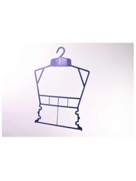 Вешалка рамка домик пластмассовая для детских комплектов синяя 30см.