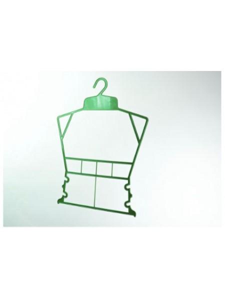 Вешалка рамка домик пластиковая для детской одежды  зеленая 30 см.