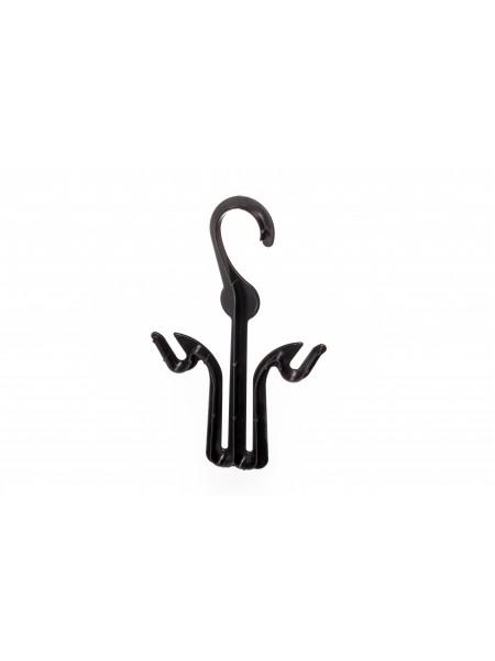 Вешалка крючок черная пластиковая  для обуви