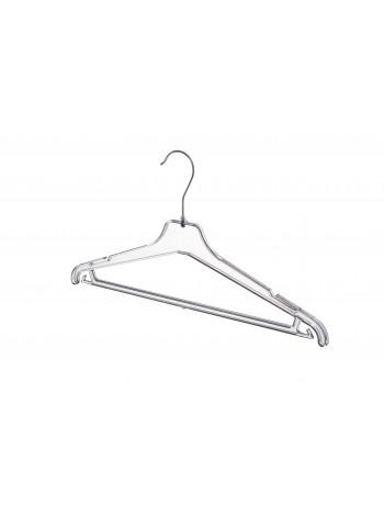 Плечики пластиковые костюмные ребристые с перекладиной прозрачные 40 см