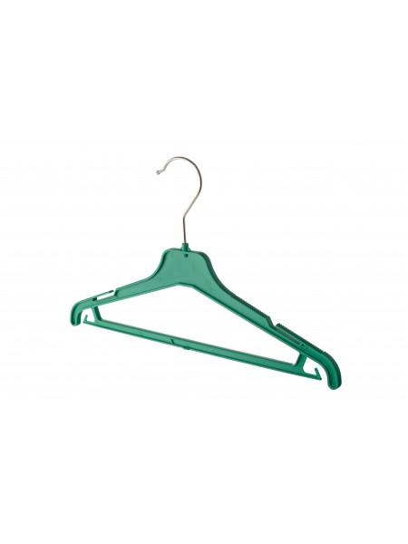 Плечики детские пластиковые ребристые с перекладиной ВКР-35 (зеленые) 35 см