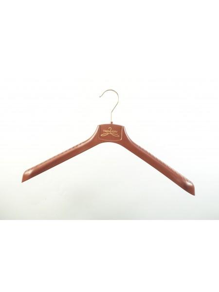 Плечики широкие пластиковые для женской верхней одежды ВОП 42/4 шоколадно-коричневые корпоративные 42 см.