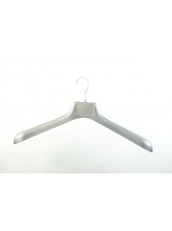 Плечики пластмассовые для верхней одежды широкие ВОП 47/6 S1 серебристые матовые 47 см.