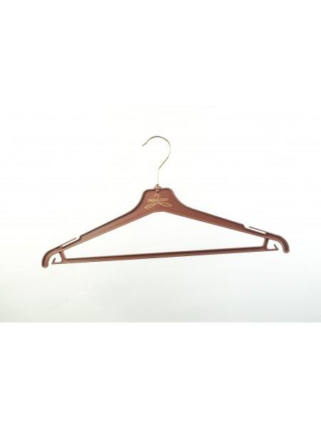 Плечики пластиковые костюмные с перекладиной для брюк 40см шоколадно-коричневые корпоративные