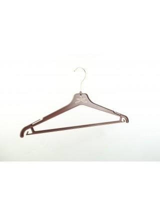 Плечики пластиковые костюмные с перекладиной для брюк 45см шоколадно-коричневые корпоративные