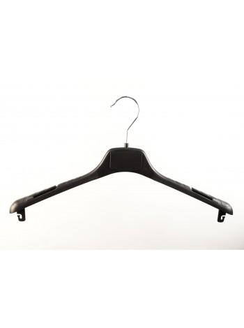 Плечики-вешалка пластиковая универсальная  ВОП-42/2,8см КП S3black (черная) 42 см. с креплениями для перекладины