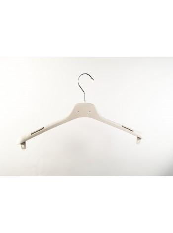 Плечики-вешалка пластиковая универсальная  ВОП-42/2,8см КП S2white (белый кремовый) 42 см. с креплениями для перекладины