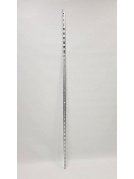 Рейка-направляющая настенная 200см с двойной перфорацией металлик