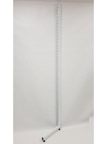 Рейка-опора пристенная 220см с двойной перфорацией закрытая белая